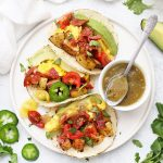 Three Potato and Egg Breakfast Tacos with Salsa Verde from onelovelylife.com