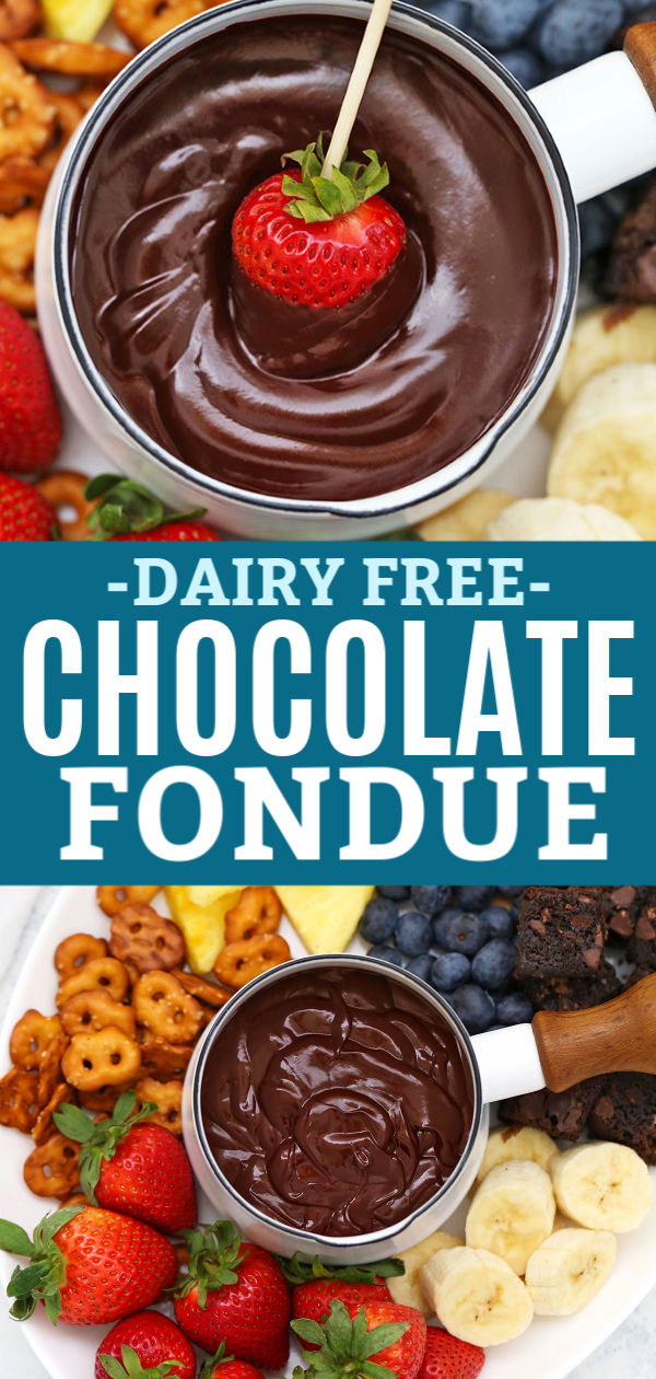 Dairy Free & Vegan Chocolate Fondue with Fresh Fruit and Gluten Free Dippers