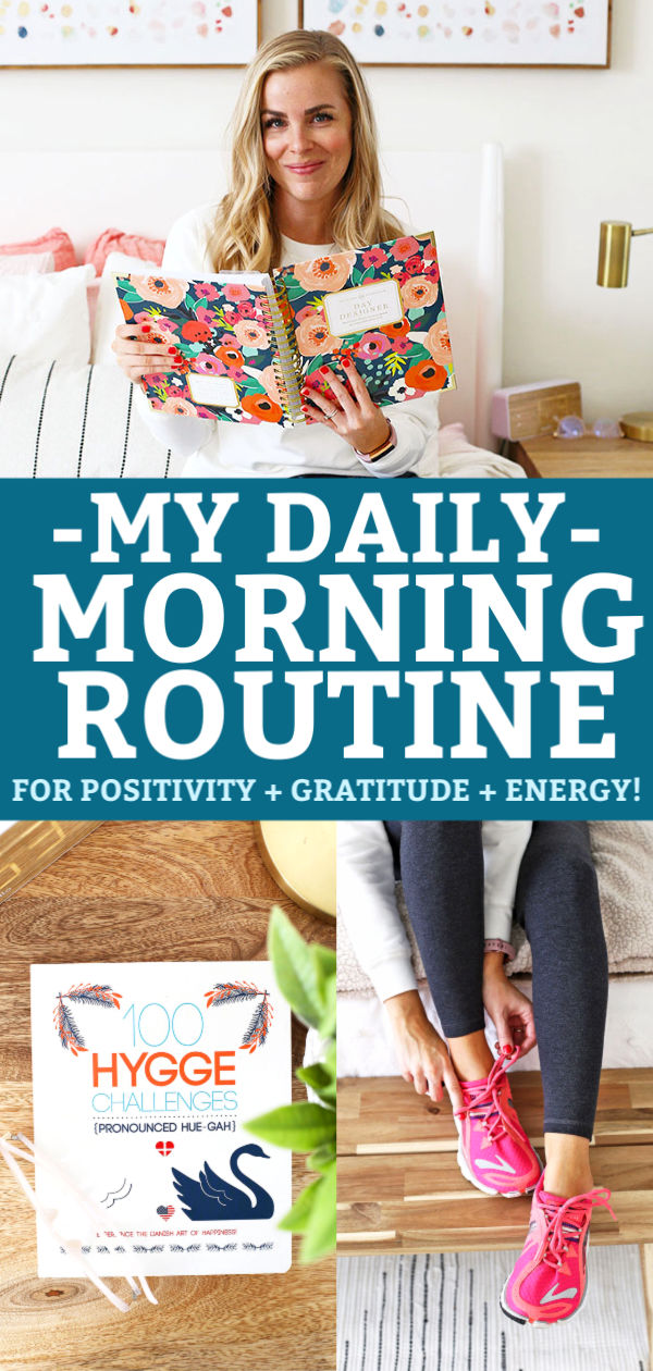 Collage of images for Emily of One Lovely Life's morning routine for positivity, gratitude and energy.