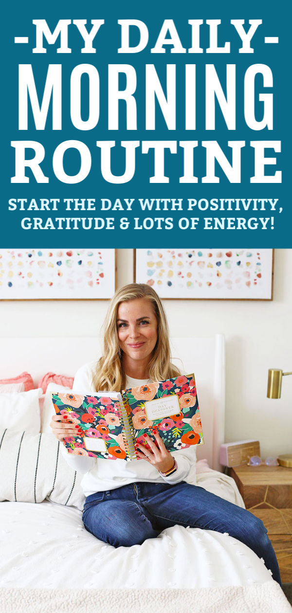 "Emily of OneLovelyLife.com using her Day Designer planner in the morning with text that reads ""My Morning Routine - Start the Day with Positivity + Gratitude + Lots of Energy!"""