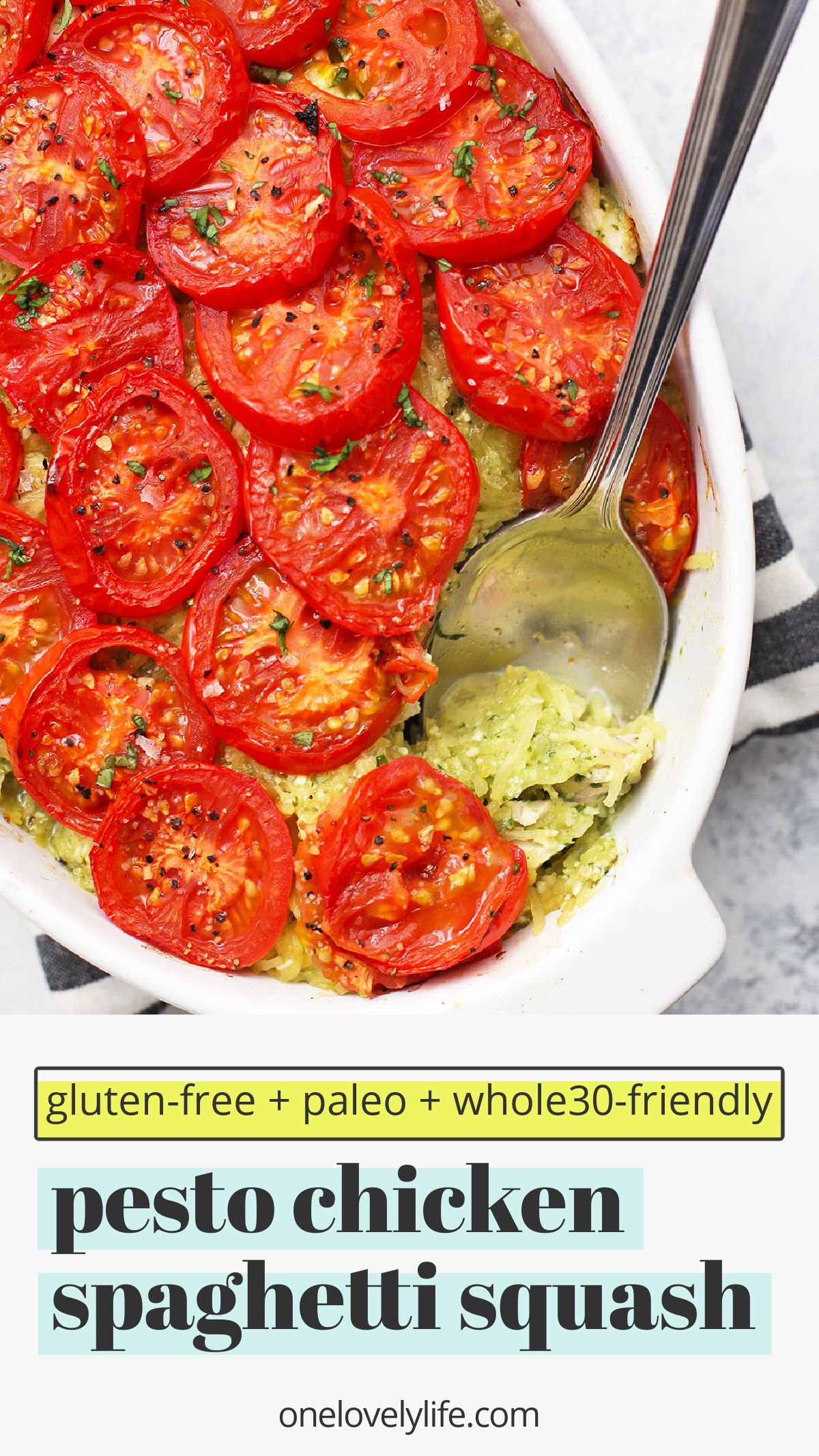 Pesto Chicken Spaghetti Squash - This yummy pesto spaghetti squash bake packs a TON of flavor with only four main ingredients. A winner all around! (Gluten Free, Dairy Free, Paleo & Whole30 Approved!) // spaghetti squash casserole // spaghetti squash bake // chicken spaghetti squash // pesto spaghetti squash recipe // Whole30 dinner #whole30 #paleo #glutenfree #pesto #spaghettisquash #dairyfree