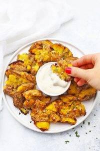 Crispy Smashed Potatoes with Ranch Dip from One Lovely Life