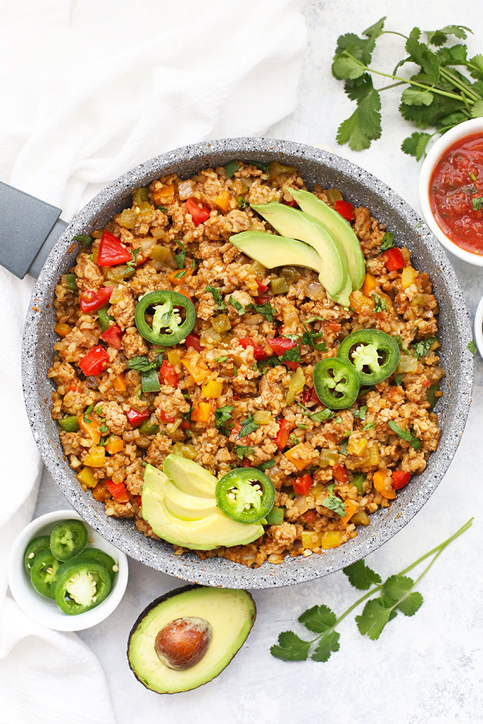 One Pan Taco Cauliflower Rice Skillet from One Lovely Life