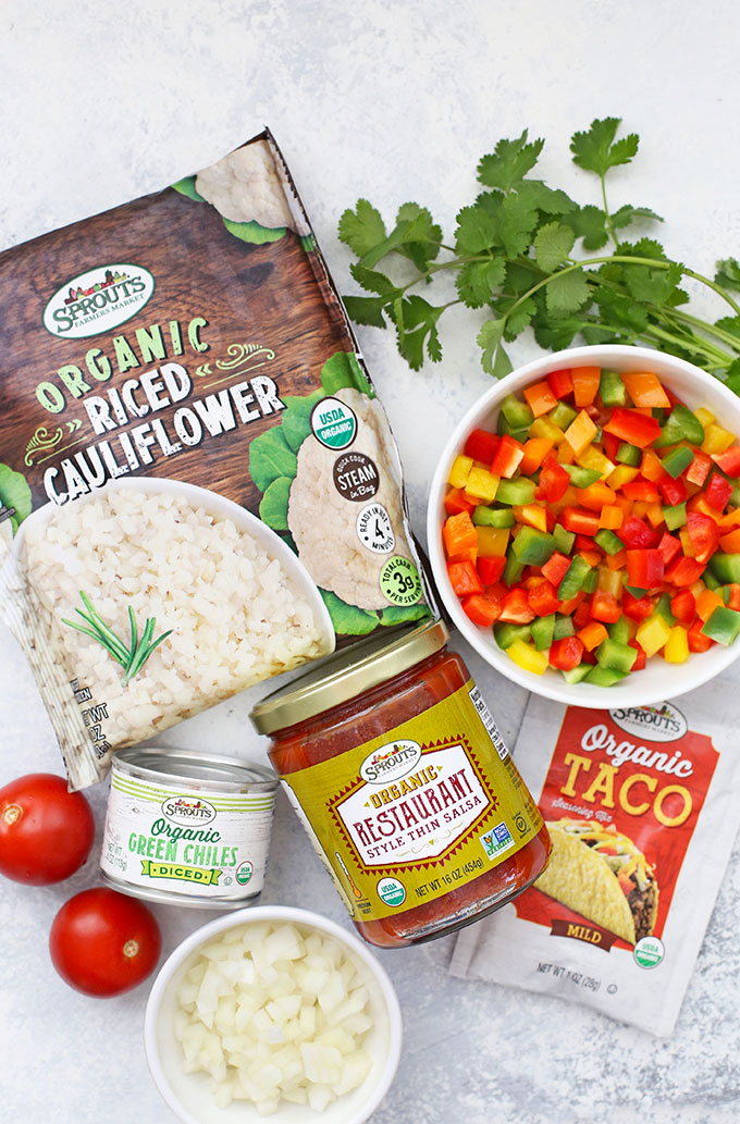 Ingredients for 30-Minute, One-Pan Taco Cauliflower Rice Skillet from One Lovely Life