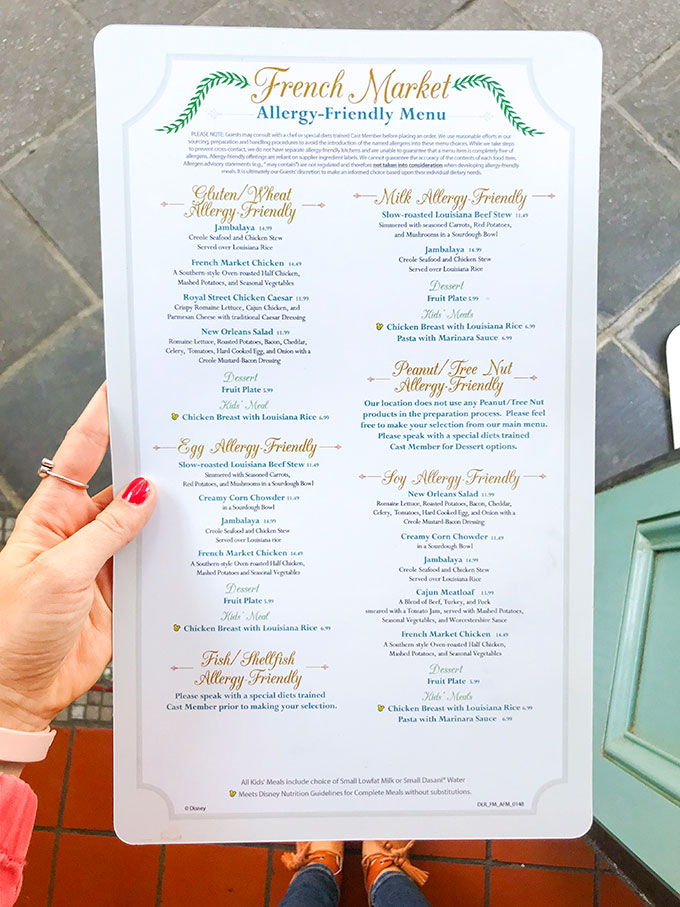 Allergy Friendly Menu from French Market at Disneyland