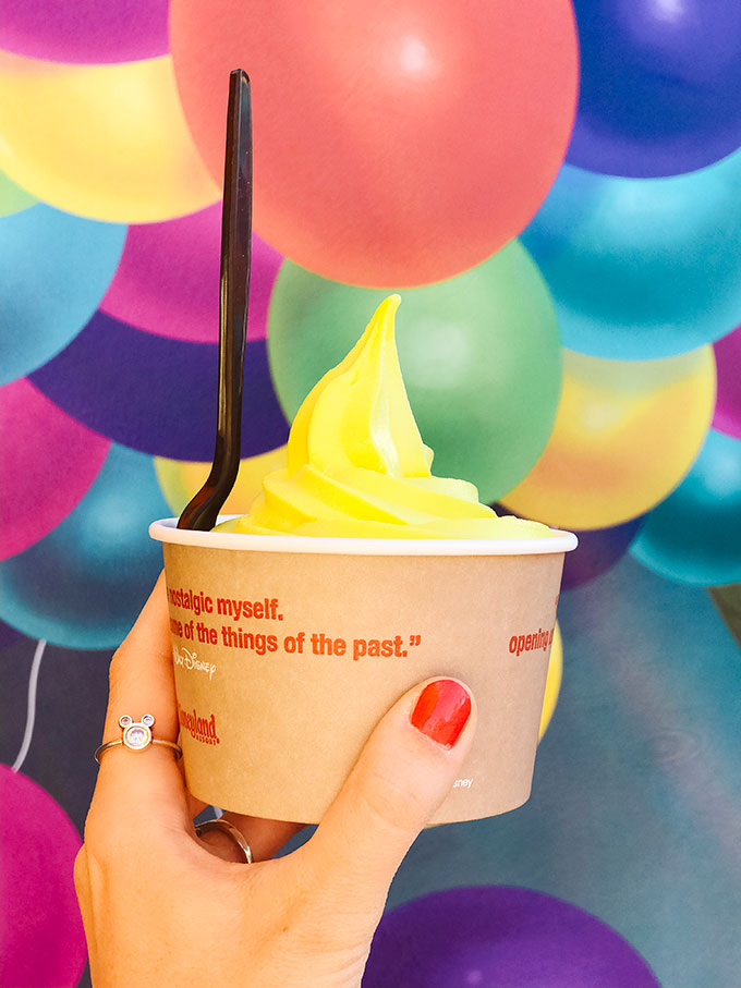 Vegan Lemon Soft Serve Ice Cream from the Adorable Snowman at Pixar Pier in California Adventure