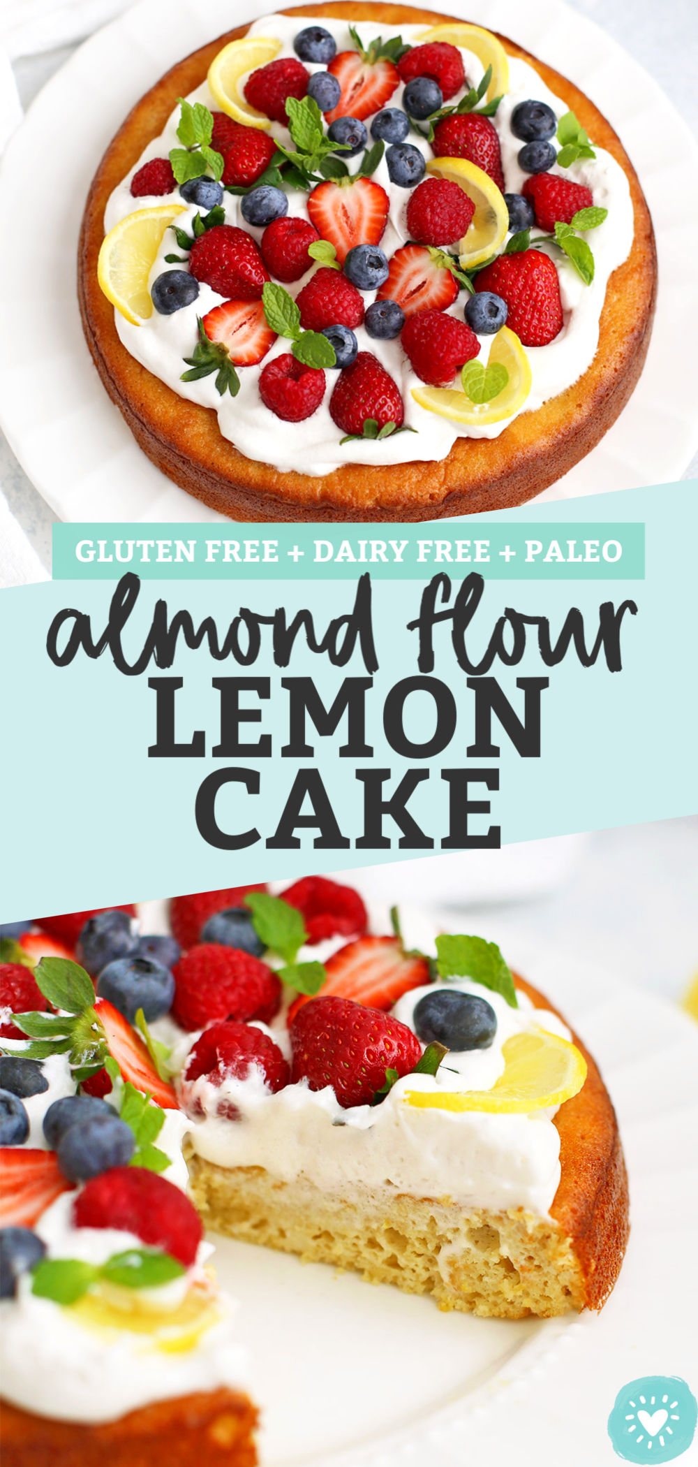 Gluten Free, Paleo Almond Flour Lemon Cake from One Lovely Life