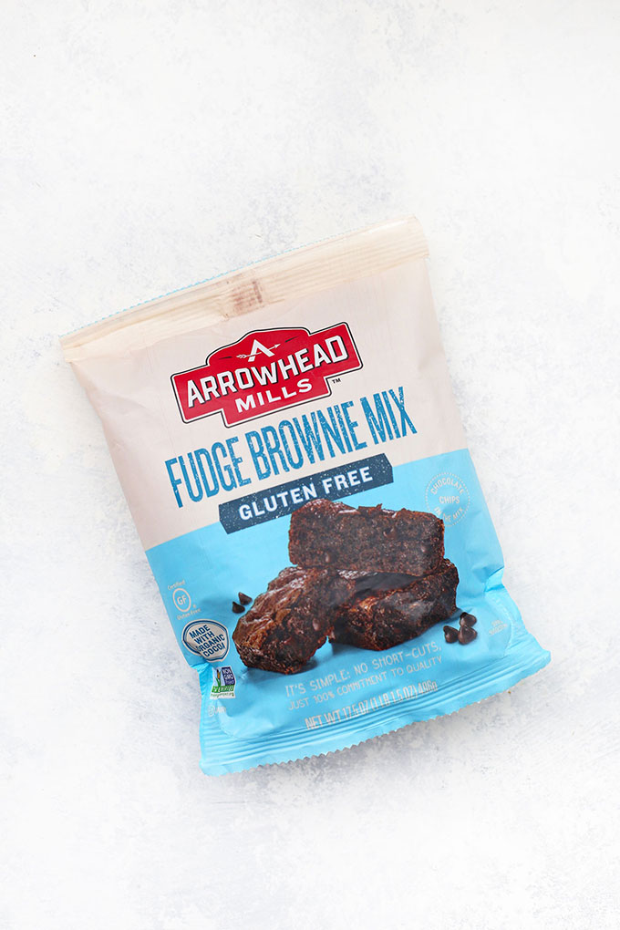 Arrowhead Mills Gluten Free Brownie Mix on a white background