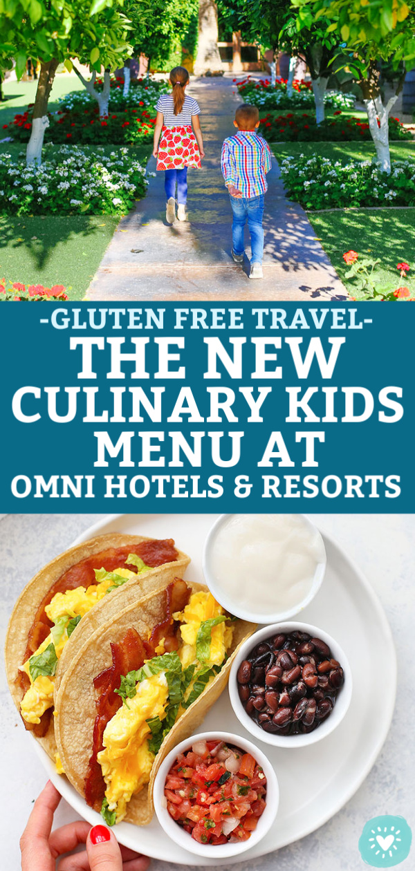Collage of Children walking the grounds at Omni Resort at Montelucia and the Southwest Breakfast Tacos from the new Culinary Kids Menu