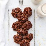 Overhead view of Healthy No Bake Cookies on an Antique Cooling Rack from One Lovely Life