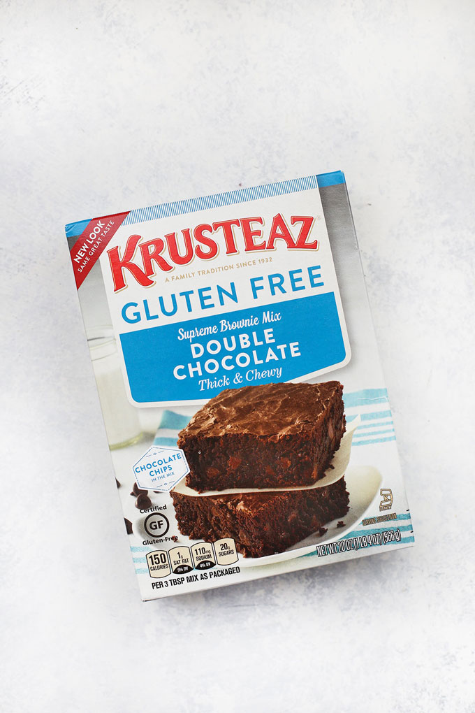 Krusteaz Gluten Free Brownie Mix on a white background