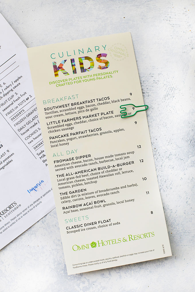 The New Culinary Kids Menu from the Omni Resort & Spa
