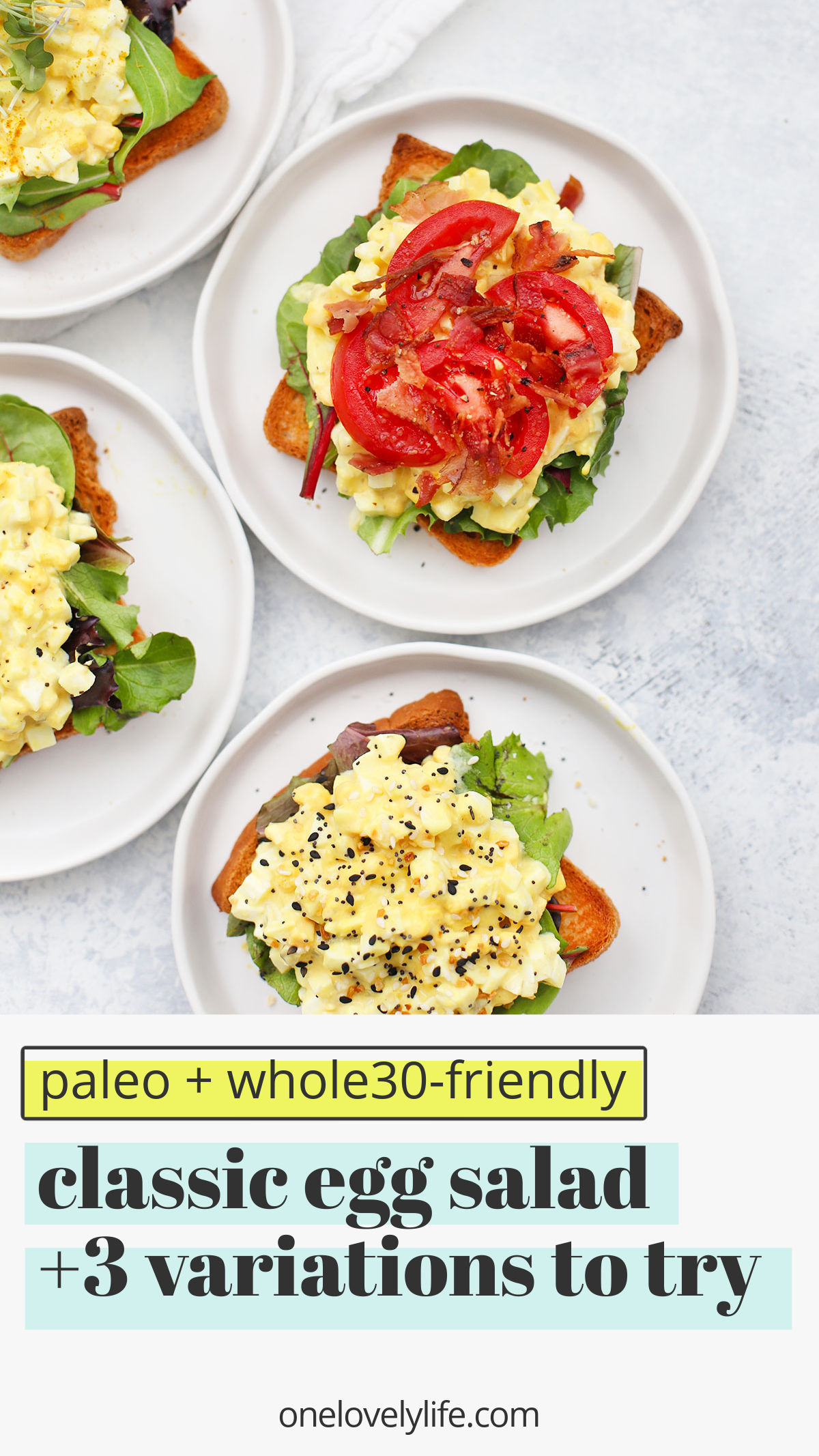 Classic Egg Salad + 3 Yummy Variations to Try - Simple and classic, this egg salad is such a yummy lunch! Don't miss 3 of my favorite delicious variations below! (Gluten free, paleo) // BLT Egg Salad Recipe // Everything Bagel Seasoning Egg Salad // Egg Salad on Toast // Curry Egg Salad // Paleo Egg Salad // Gluten Free Egg Salad #eggsalad #paleo #glutenfree #dairyfree #hardboiledeggs