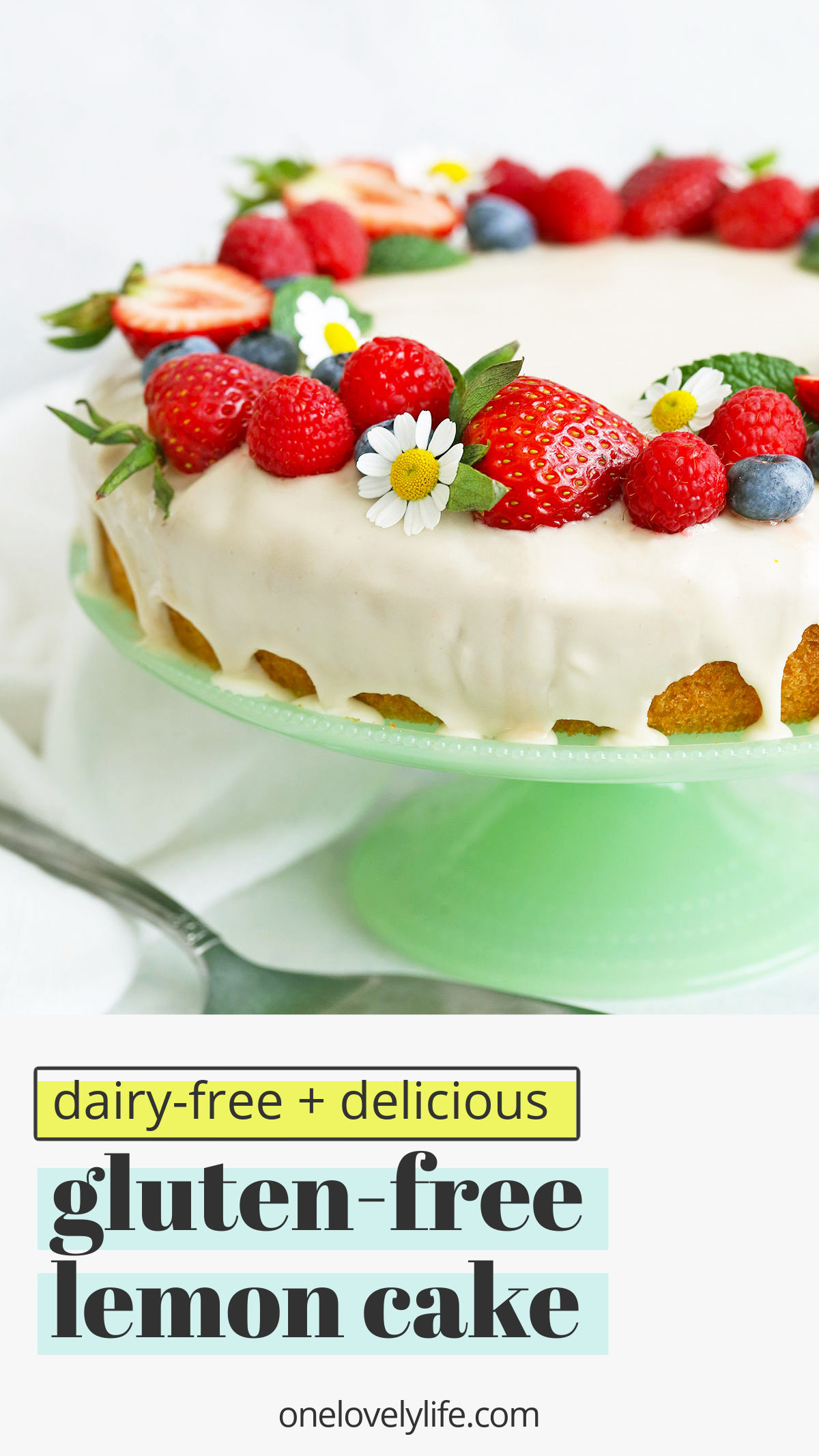 Gluten Free Lemon Cake - This bright, tangy gluten free lemon cake is like eating a bite of sunshine. Gluten free, dairy free, and absolutely delicious.// gluten free lemon cake recipe // dairy free lemon cake recipe // lemon cake recipe // easter dessert // spring dessert // spring cake // summer cake #lemoncake #glutenfree #dairyfree #cake #glutenfreecake