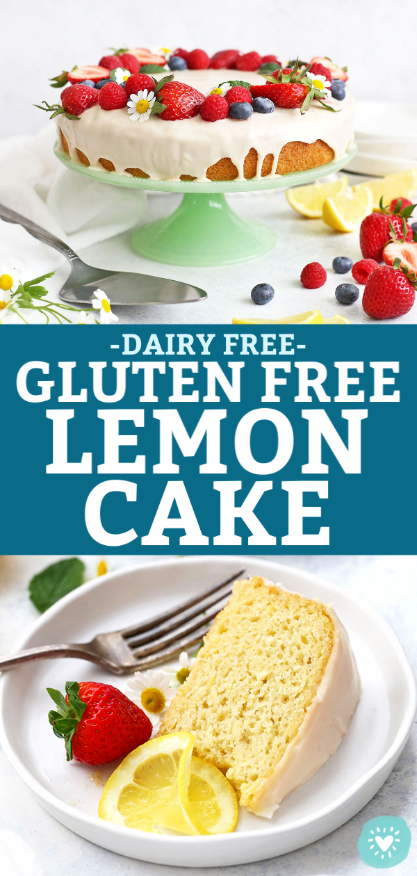 "Collage of Gluten Free Lemon Cake Photos from One Lovely Life with text that reads ""Dairy Free Gluten Free Lemon Cake"""