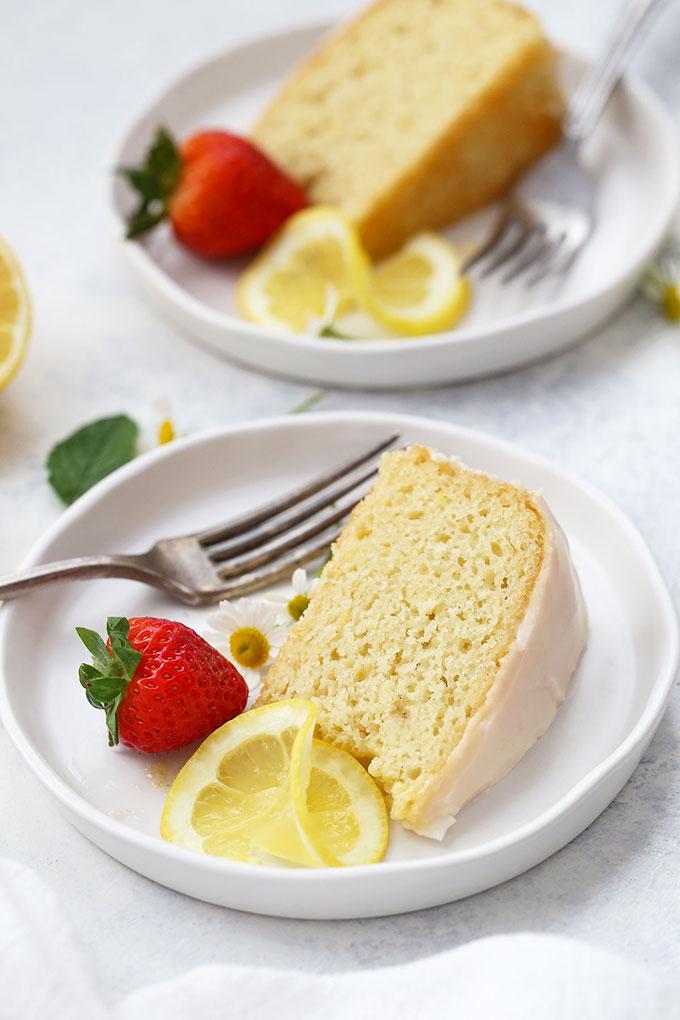 Sliced Gluten Free Lemon Cake from One Lovely Life