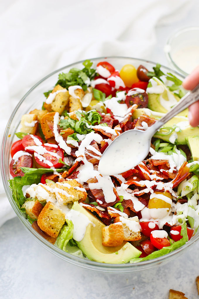BLT Salad with Creamy Ranch Dressing Drizzled on Top