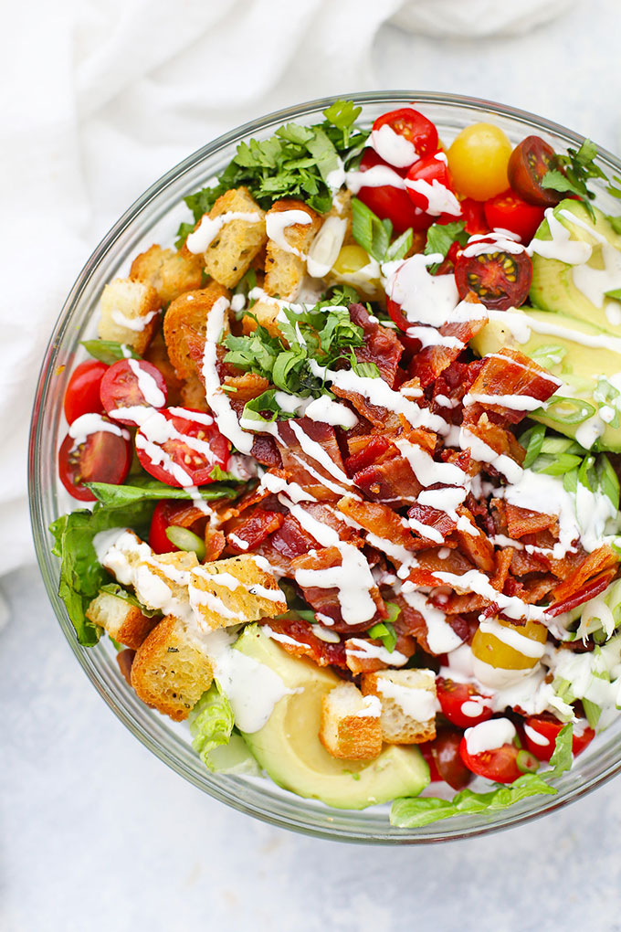BLT Salad with Gluten Free Croutons Drizzled with Creamy Ranch Dressing