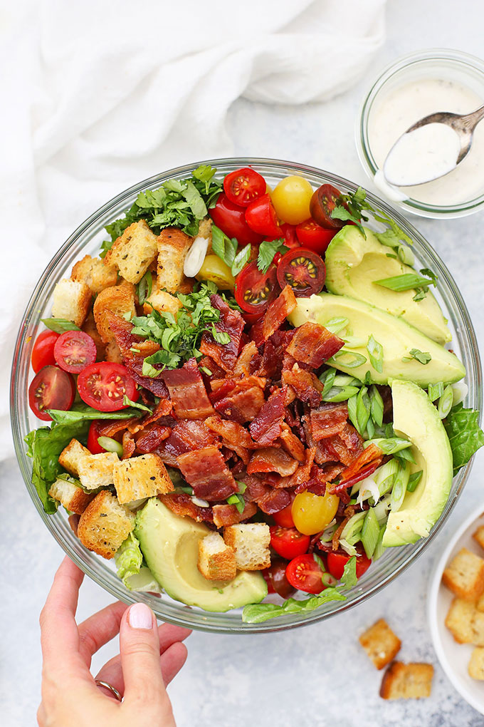 BLT Salad with Gluten Free Croutons from One Lovely Life