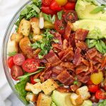 Close up view of BLT Salad with Gluten Free Croutons from One Lovely Life