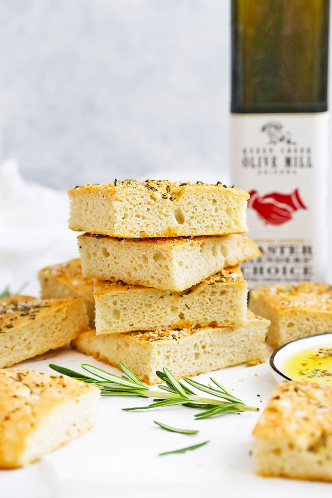 Slices of gluten free rosemary focaccia stacked