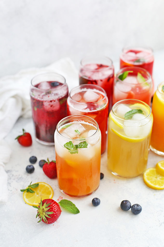 8 Flavors of Healthy Homemade Lemonade Naturally Sweetened with Honey from One Lovely Life
