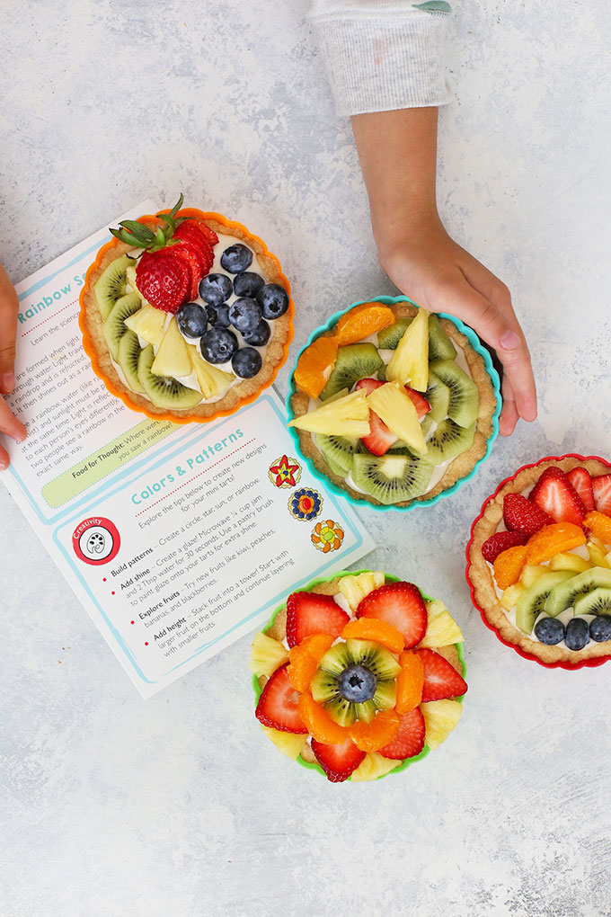 Raddish Kids Rainbow Fruit Tarts with a recipe card
