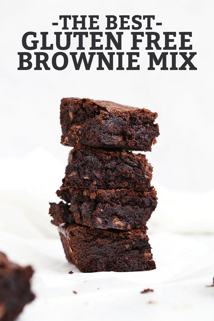 "4 Gluten Free brownie squares stacked in a column with text that reads ""The Best Gluten Free Brownie Mix"""