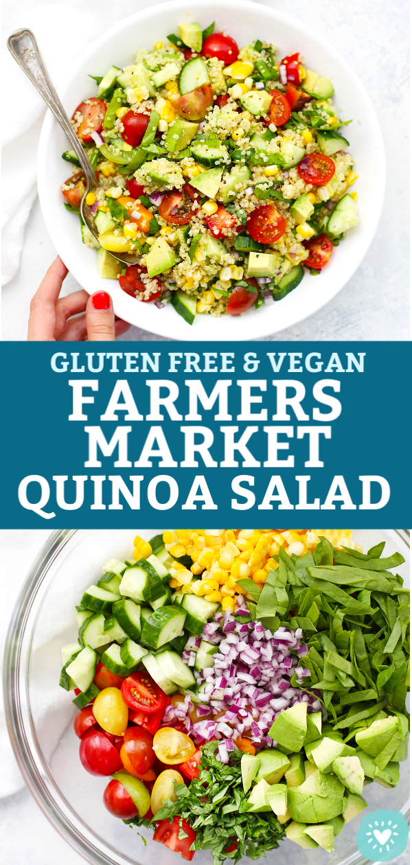 "Collage of images of Farmers Market Quinoa Salad with text overlay that reads ""Gluten Free & Vegan Farmers' Market Quinoa Salad"""