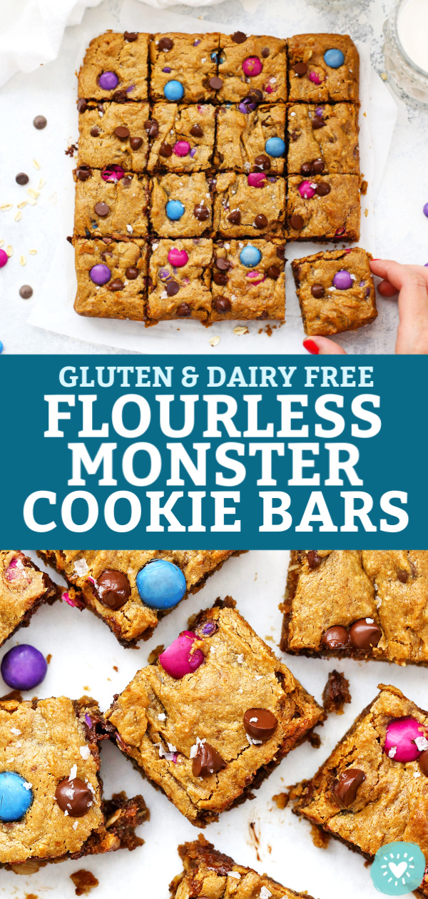 "Collage of Flourless Monster Cookie Bars with text overlay that reads ""Gluten & Dairy Free Flourless Monster Cookie Bars"""