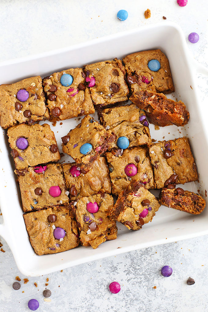 Flourless Monster Cookie Bars cut into squares