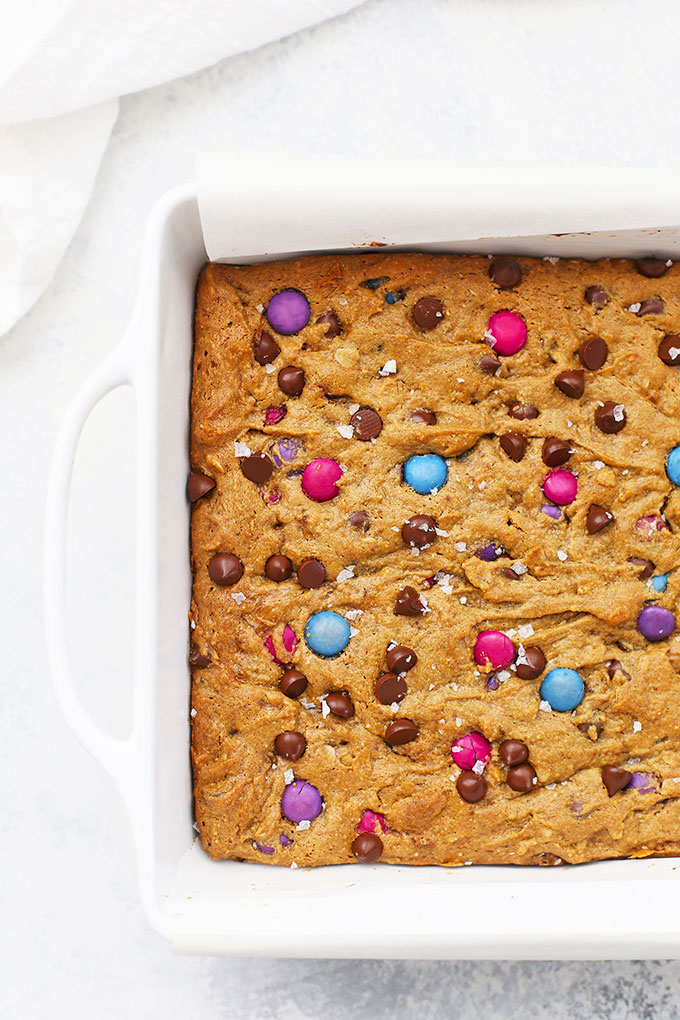 Square pan of Flourless Monster Cookie Blondies from One Lovely Life
