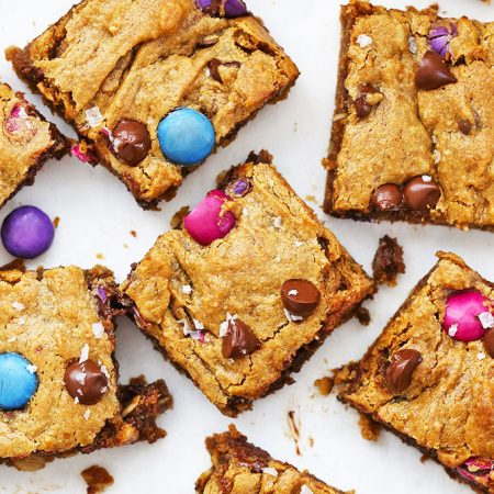 Close up view of Flourless Monster Cookie Bars from One Lovely Life