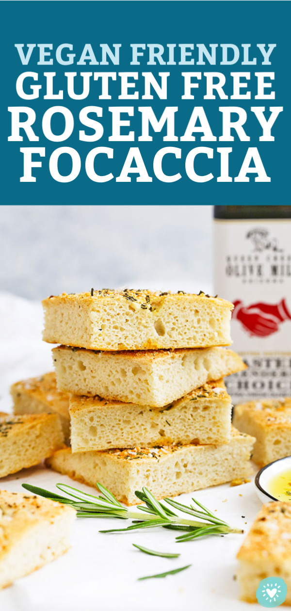 "Slices of gluten free rosemary focaccia stacked with text overlay that reads ""Vegan Friendly Gluten Free Rosemary Focaccia"""