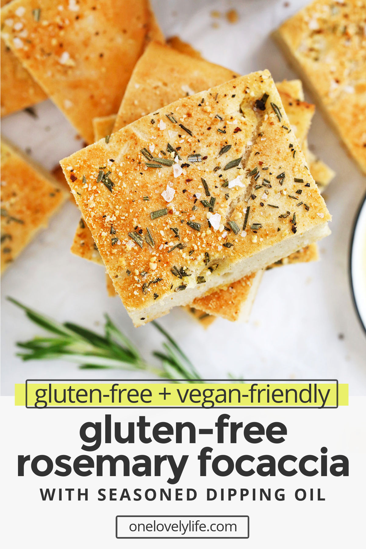 Gluten Free Focaccia - This rosemary focaccia is made entirely gluten free and vegan! It's easier than you think and has the perfect crispy crust and tender, light center. Yum! // gluten free focaccia recipe // rosemary focaccia #focaccia #glutenfree #glutenfreebread #glutenfreebaking