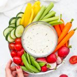 Overhead view of Crudite plate with Paleo Ranch Dressing in the center