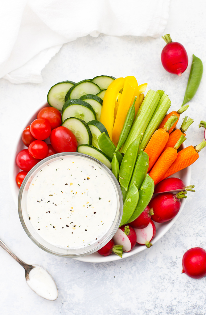 Veggie tray with dairy free paleo ranch dressing