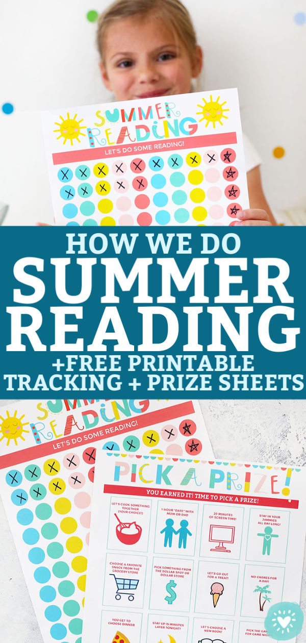 "Collage of Summer Reading Printables and Prize Sheets with text overlay that reads ""How We Do Summer Reading +Free Printable Tracking + Prize Sheets"""