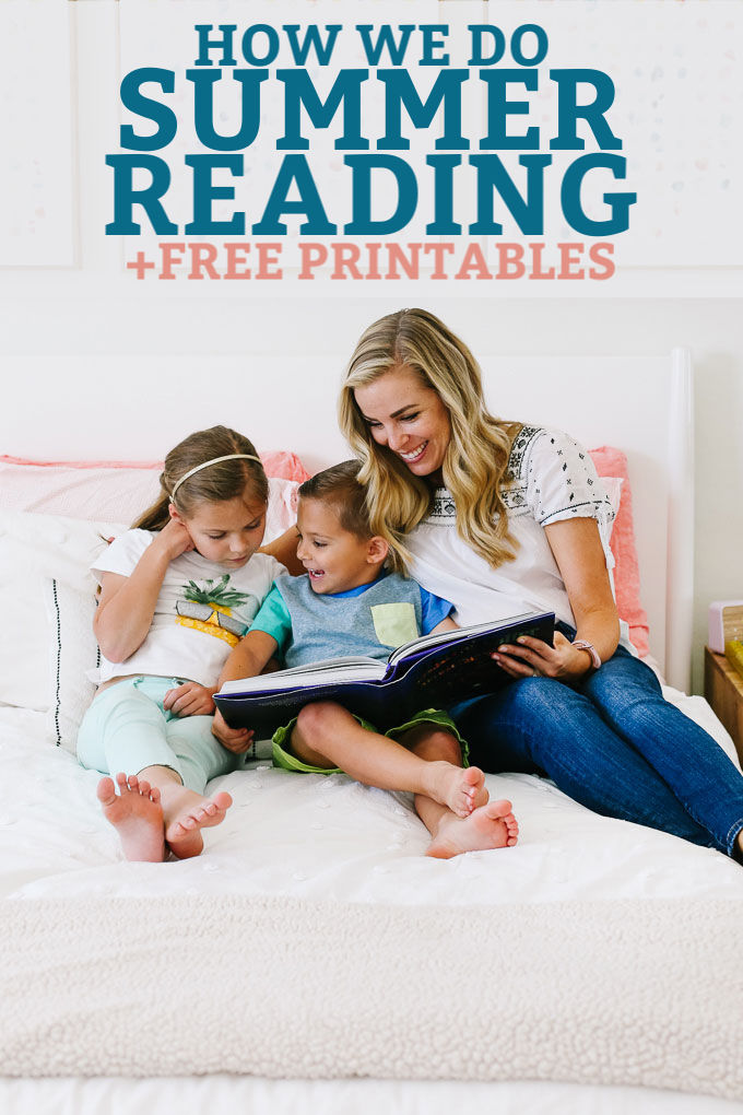 "Emily from One Lovely Life reading Harry Potter with her kids. Text overlay reads ""How We Do Summer Reading +Free Printables!"""