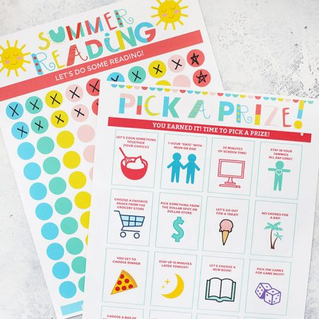 Printable Reading Chart + Prize Sheet from One Lovely Life