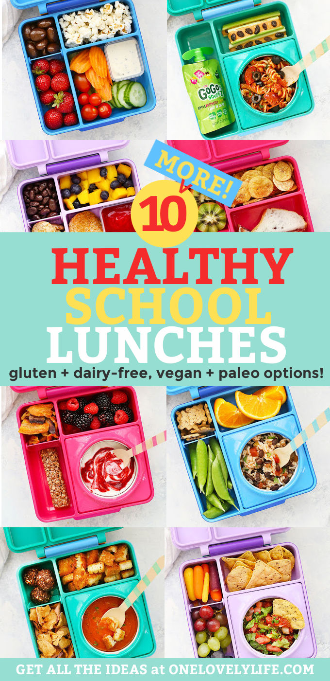 "Collage of healthy school lunches packed in Omie lunch boxes with text overlay that reads ""10 Healthy School Lunches. Gluten Free + Dairy Free + Vegan + Paleo-Friendly"""