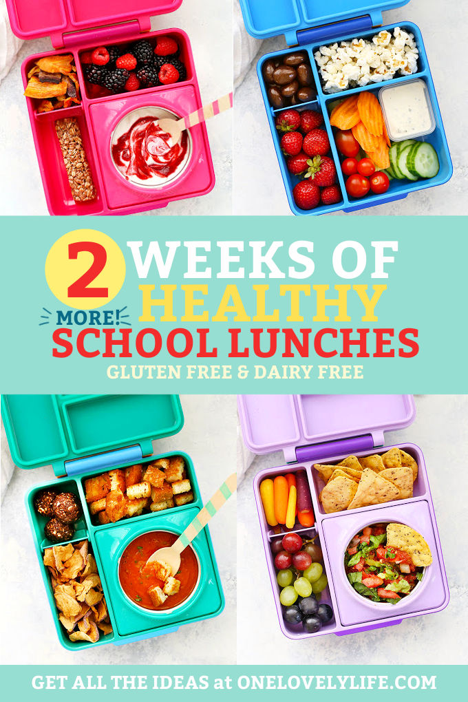 "Collage of healthy school lunches packed in Omie lunch boxes with text overlay that reads ""2 More Weeks of Healthy School Lunches. Gluten Free + Dairy Free"""