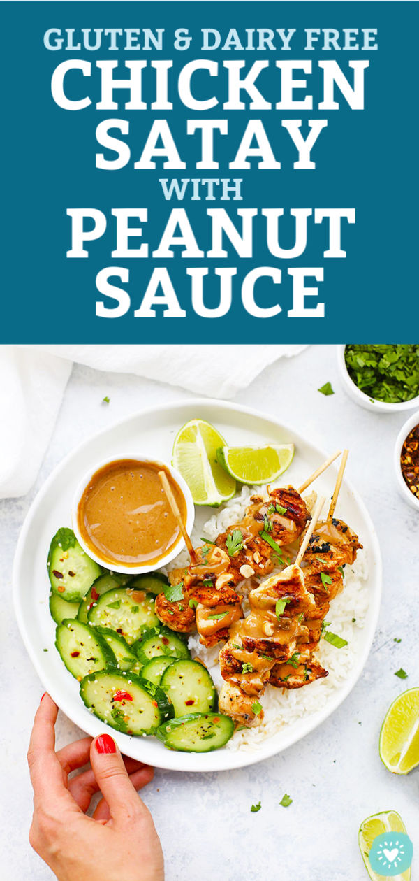 Gluten Free, Dairy Free Chicken Satay with Creamy Peanut Sauce from One Lovely Life