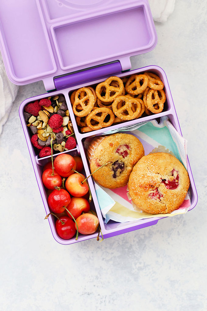 Gluten Free Dairy Free Muffins School Lunch with Pretzels, Trail Mix, and Cherries