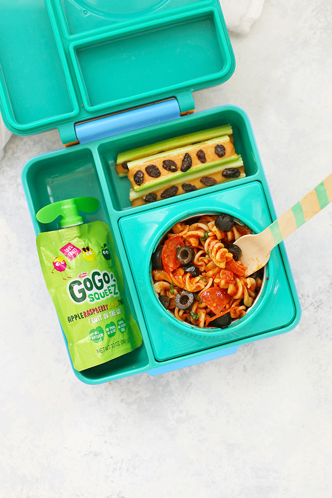 Gluten Free Pizza Pasta School Lunch with Ants on a Log and Applesauce Pouch from One Lovely Life