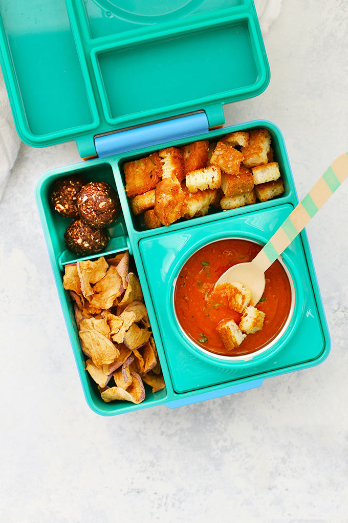 Gluten Free Vegan School Lunch with Tomato Soup, Gluten Free Croutons, Energy Bites and Cinnamon Apple Chips