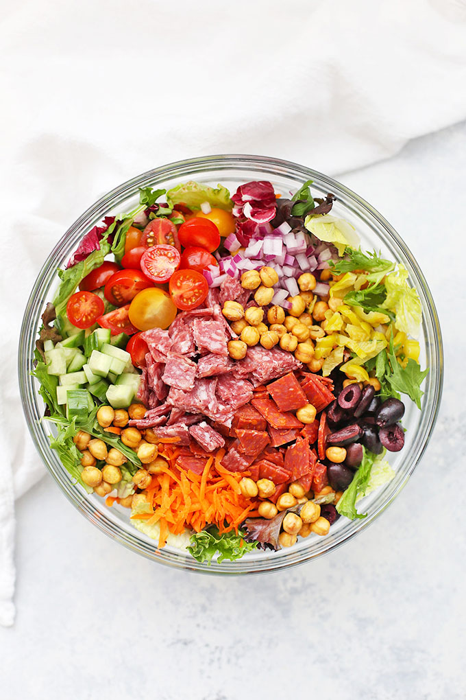 Italian Chopped Salad with Red Wine Vinaigrette from One Lovely Life