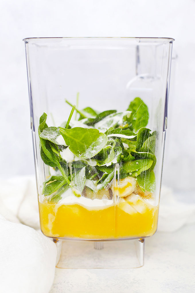 Ingredients for Pineapple Julius Smoothie in a blender