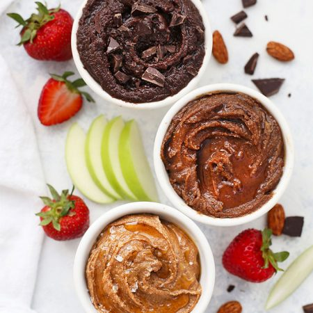 3 Kinds of Flavored Almond Butter: Honey Vanilla, Maple Cinnamon, and Cocoa.