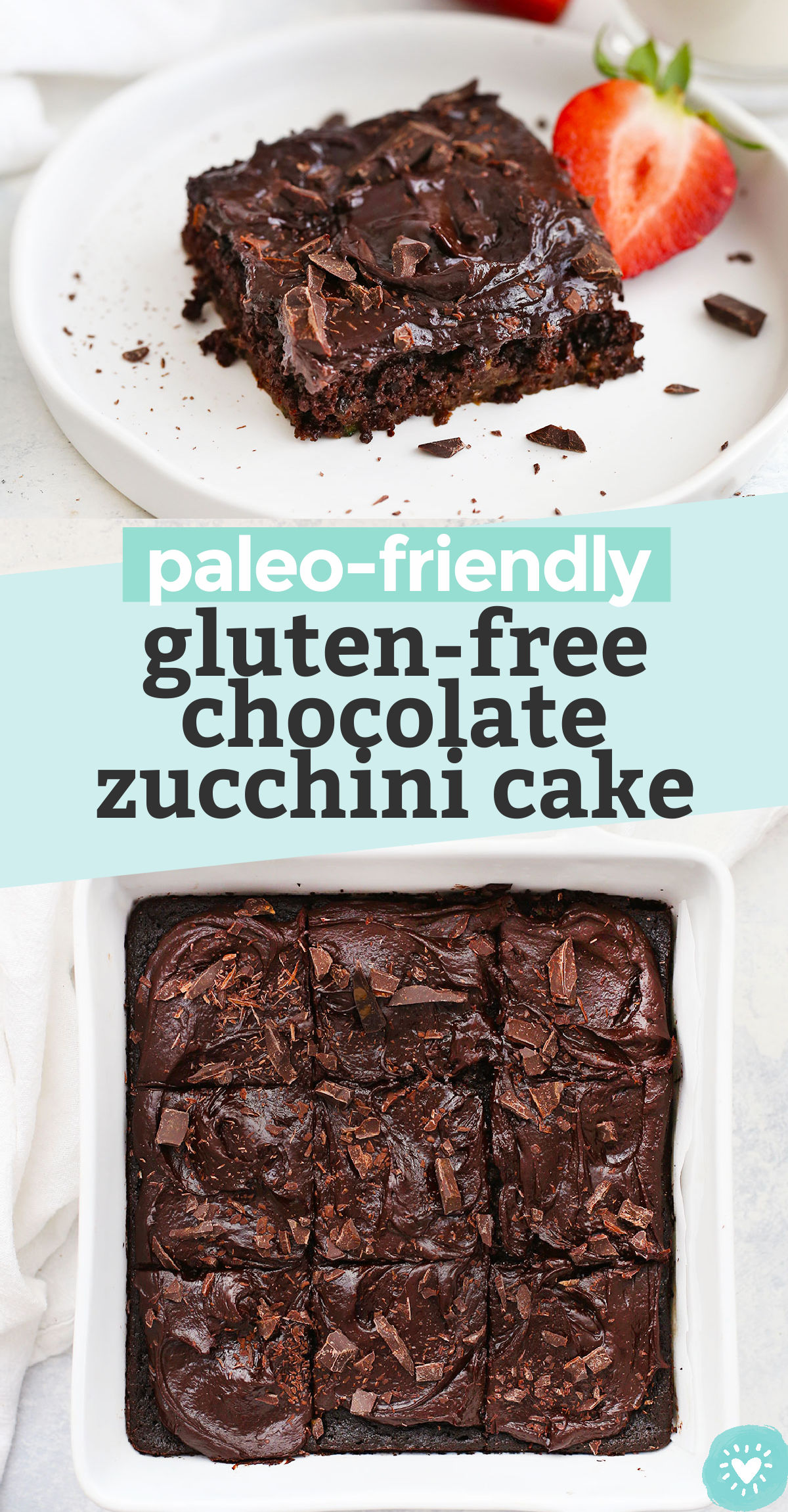"""Collage of images of gluten-free chocolate zucchini cake with text overlay that reads """"paleo-friendly gluten-free chocolate zucchini cake"""""""